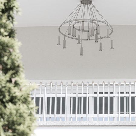 Valo und Kronleuchter Atura2 auf einem Balkon
