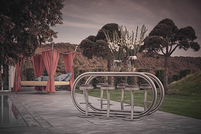 Outdoor Design Theke Ligna mit Daybed im Garten