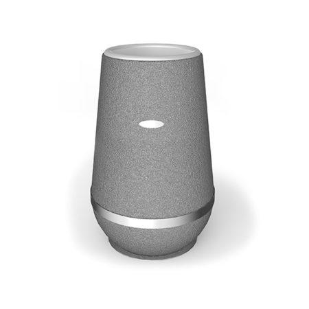Design Vase Arundo aus Gummigranulat mit Edelstahlring in 1000mm Höhe