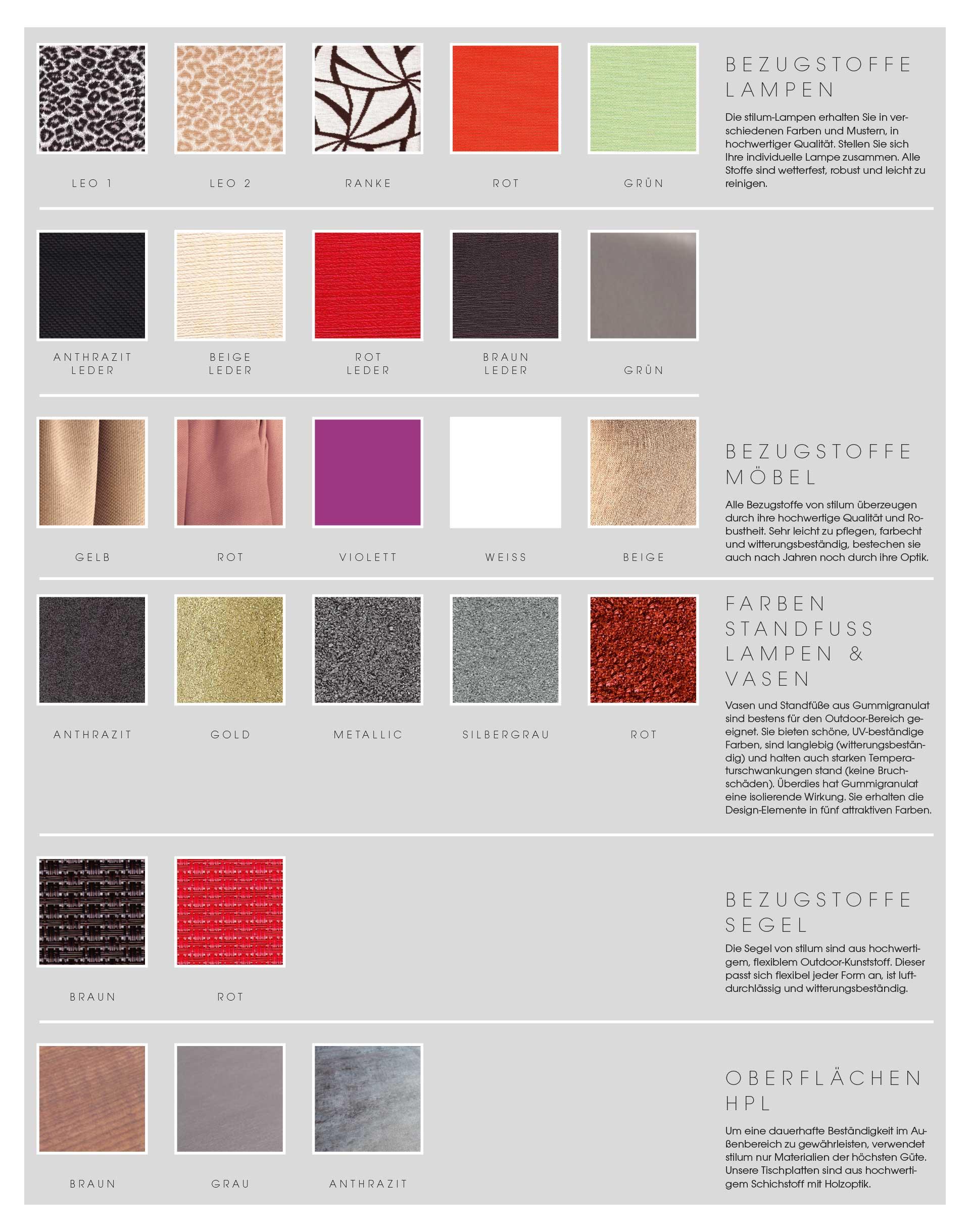 Farben und Muster für Oberflächen, Bezüge und Lampenschirme