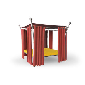 Outdoor Daybed Tora mit rotem Stoff