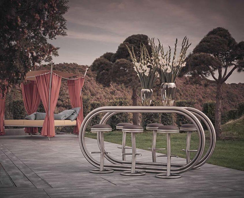 Outdoor Living mit Theke Ligna und Barhocker Decos von Stilum