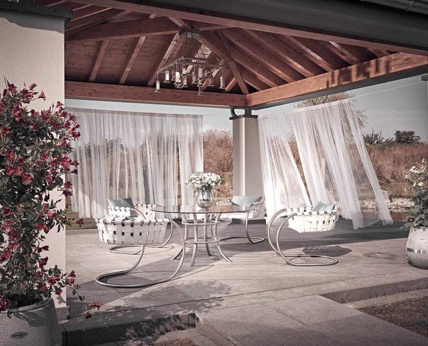 Outdoor Living mit Gartenstuhl Niva und Tisch Vitrum sowie Leuchter Atura1