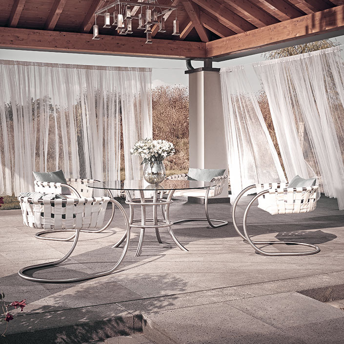 Vitrum in Exterior Design-Kombination mit Gartenstuhl Niva